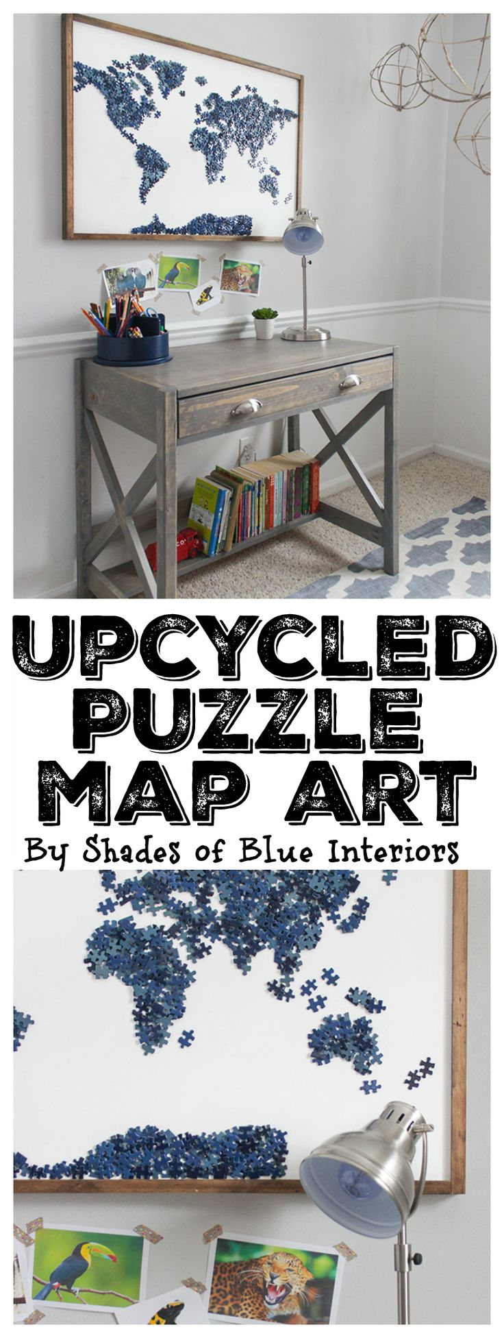Upcycled Puzzle Map Art