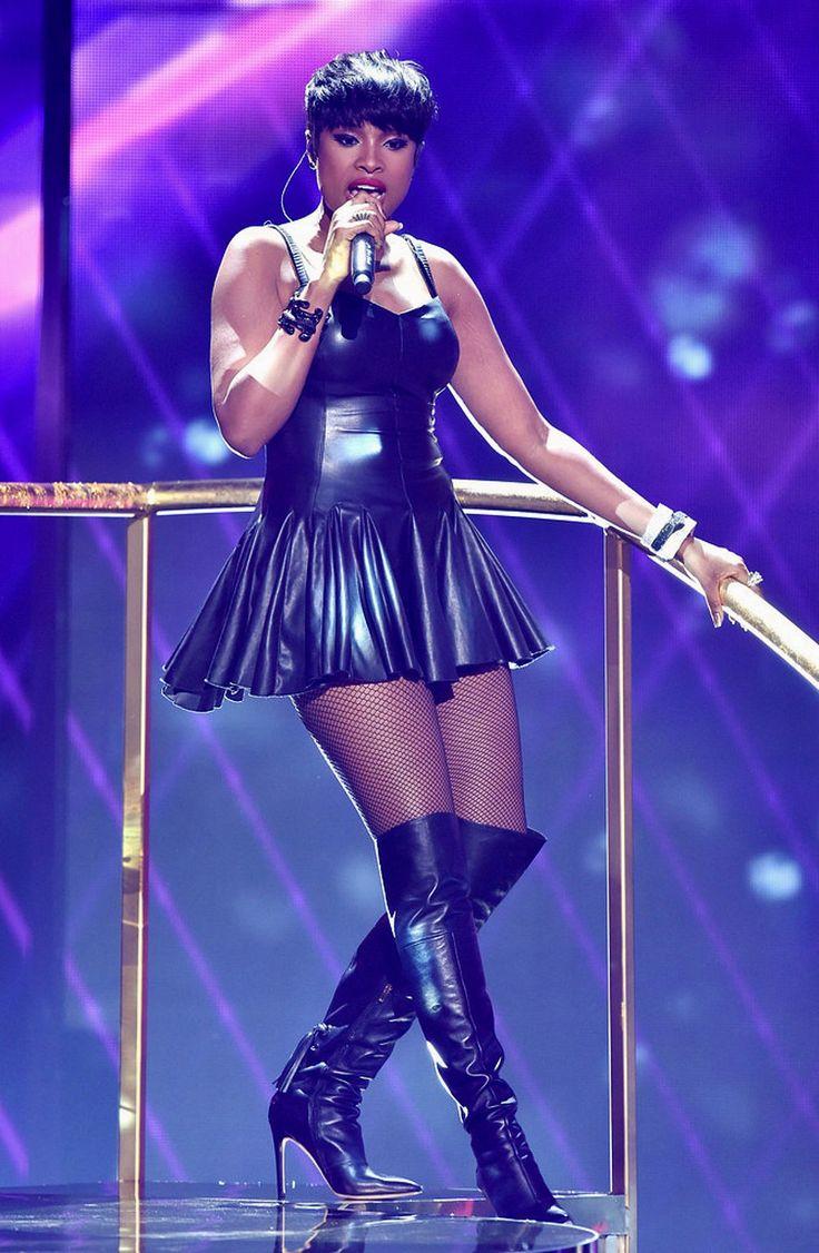 Jennifer Hudsons 2014 BET Awards Black Leather Dress And Via Spiga Fall Femke Over The Knee Boots