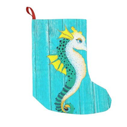 Cute Seahorse Teal Rustic Small Christmas Stocking - #chic gifts diy elegant gift ideas personalize