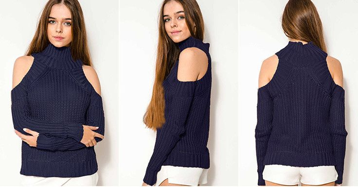Bear Shoulder High Collar Hollow Pure Color Sexy Sweater