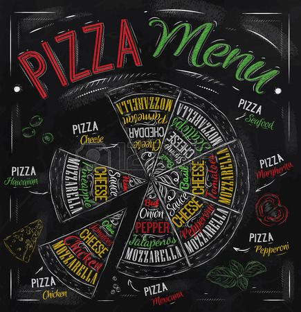Pizza menu the names of dishes of Pizza, Hawaiian, cheese, chicken, pepperoni and other ingredients tomato, basil, olive, cheese to design a menu stylized drawing with chalk of red, green Vector photo
