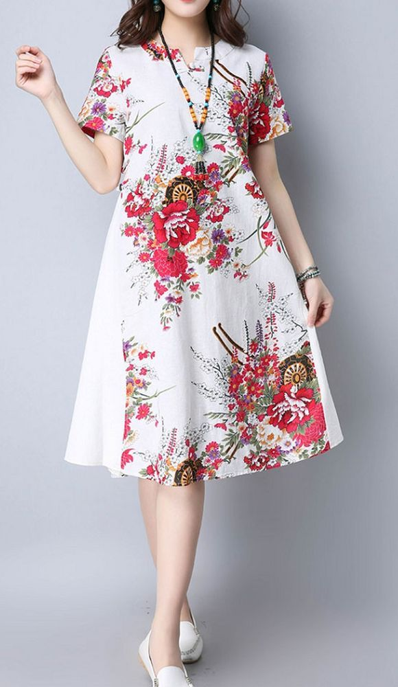 Women loose fit over plus size retro flower plate buckle dress tunic fashion #Unbranded #dress #Casual