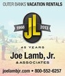 Joe Lamb Jr. & Associates is celebrating 45 years of service to the Outer Banks. We provide quality vacation rental homes and superior service. Come experience the fun and beauty of a carefree family vacation in one of the best beach communities in North Carolina! We offer a wide selection of Outer Banks vacation rentals in beach communities and towns of Duck, Southern Shores, Kitty Hawk, Kill Devil Hills, Nags Head and South Nags Head. Call 800-552-6257 or visit www.joelambjr.com for more…