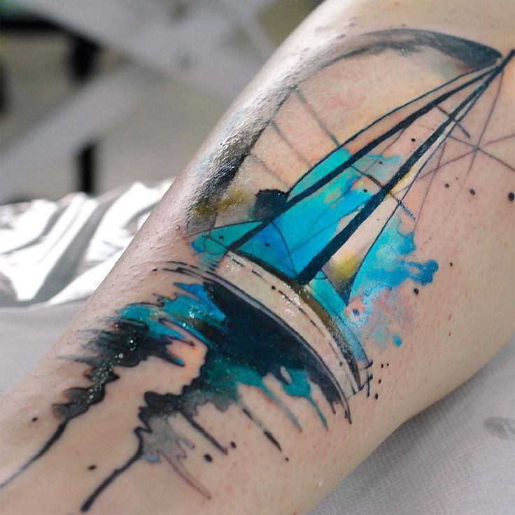 painterly sail boat tattoo