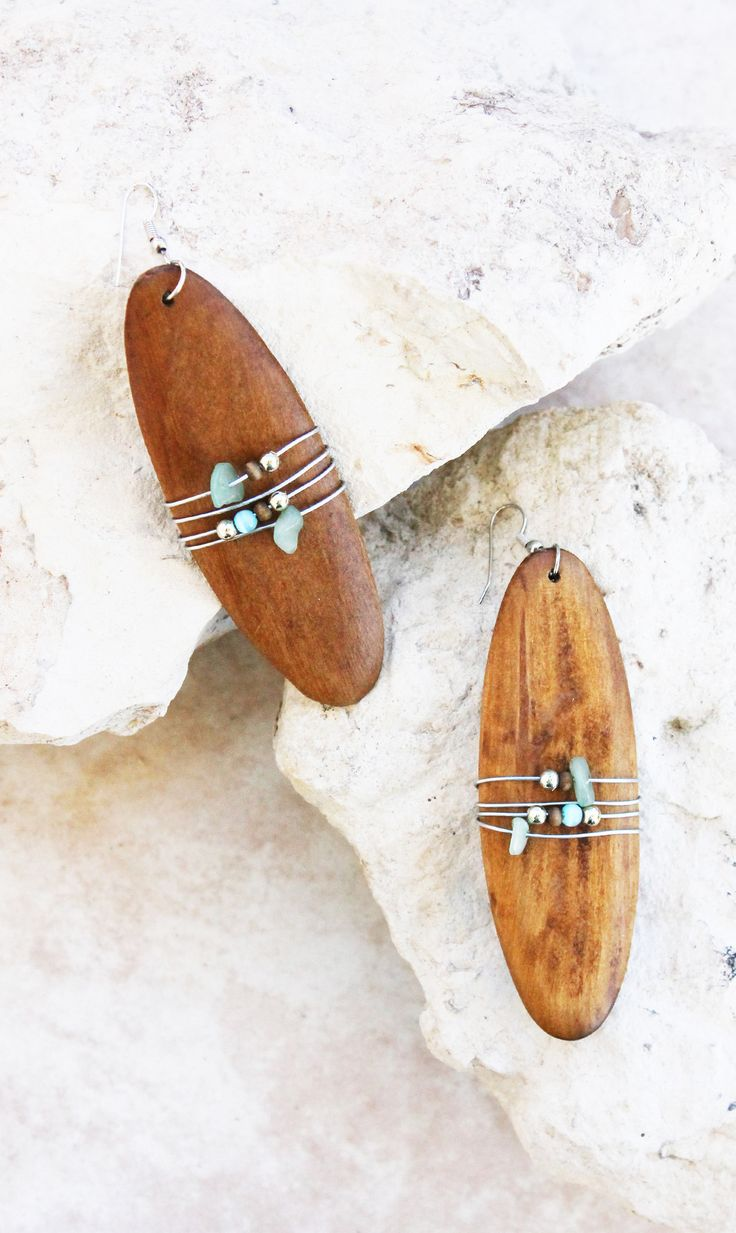 Make A Statement With Our Wooden Plank Earrings Features Wire Wrapped  Handpicked Stones And Beads