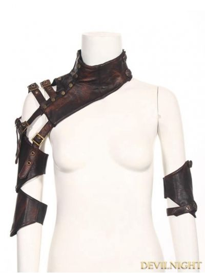Brown Faux Leather Steampunk Shoulder Armour