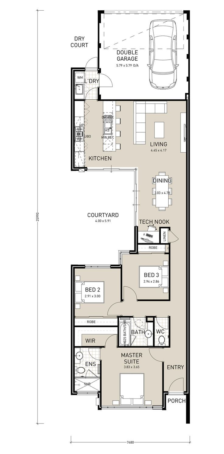 Floor plans pinterest traditional bedroom and home for Home plans for narrow lots