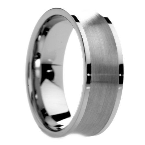 8 Mm Mens Tungsten Carbide Rings Wedding Bands Brushed Concave Center With Polished Flat Edges