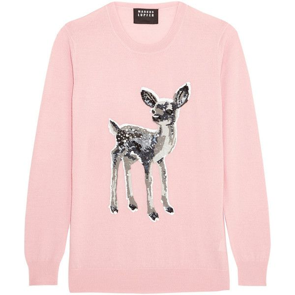 Markus Lupfer Natalie sequined merino wool sweater found on Polyvore featuring tops, sweaters, pink, embellished tops, pink sequin top, pastel pink sweater, embellished sweater and merino wool sweater