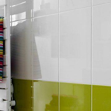 Carrelage mural home en fa ence blanc blanc n 0 25 x 40 cm home sweet home for Comcarrelage blanc mural