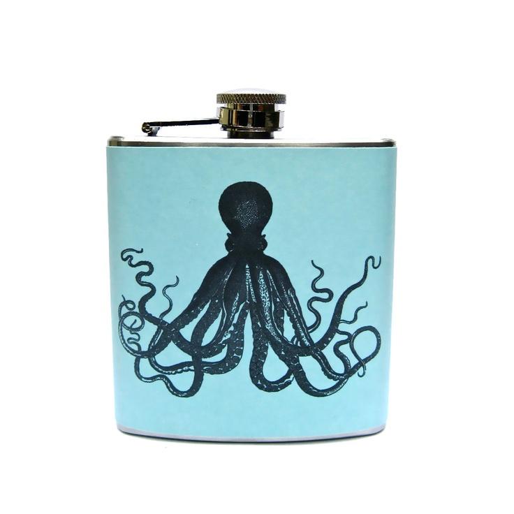 6 oz Stainless Steel - Octopus Whiskey Flask Nautical Maritime Ocean Liquor Groomsmen Flask. $17.95, via Etsy.