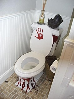 i know that this is supposed to be a halloween decoration but it looks like someone is having their time of the month - Halloween Bathroom Decorations
