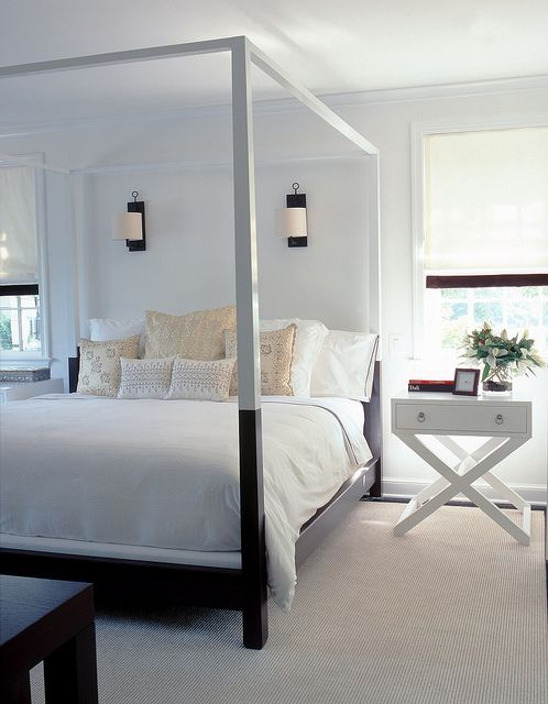 Sleek canopy bed.  Like!  http://cococozy.com