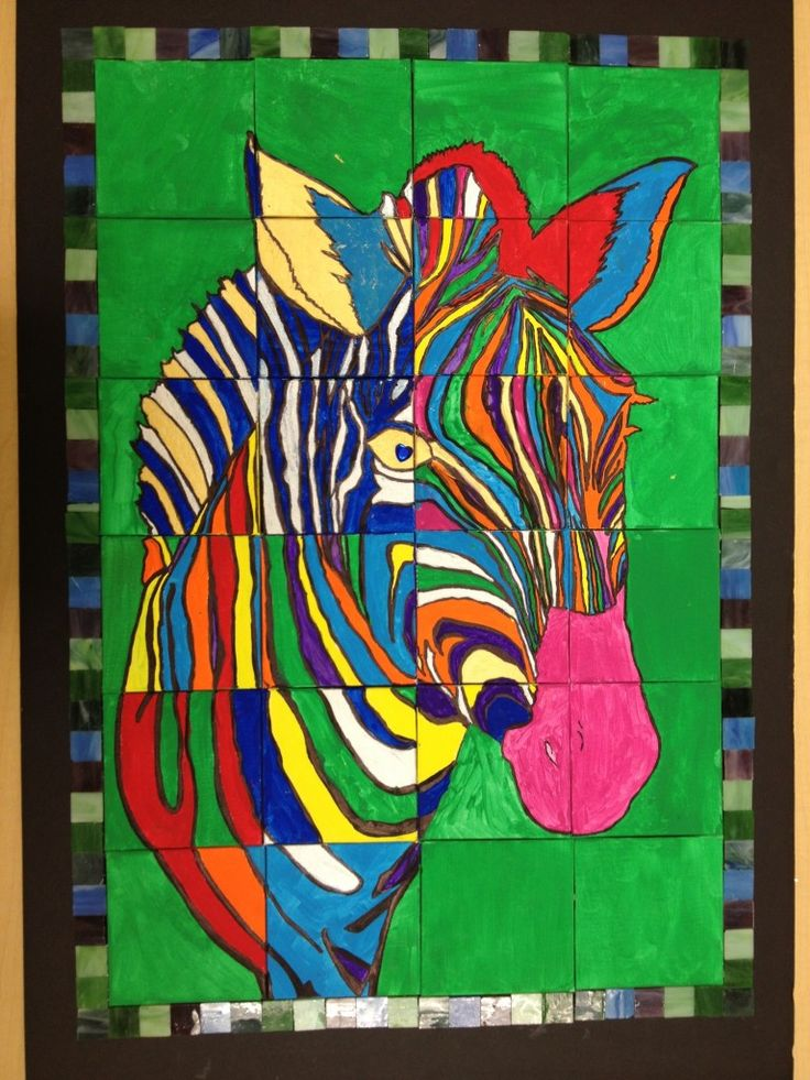 Draw out very large animal (zebra). Cut into pieces. Let 2-3 class collage block COlour backgrounds. Let other kids Colour rest very brightly. Then piece back together.