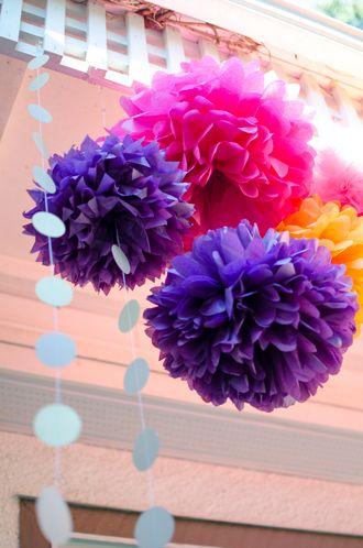 Moroccan Party- Purple, Fuschia, Tangerine Tissue Paper pom poms