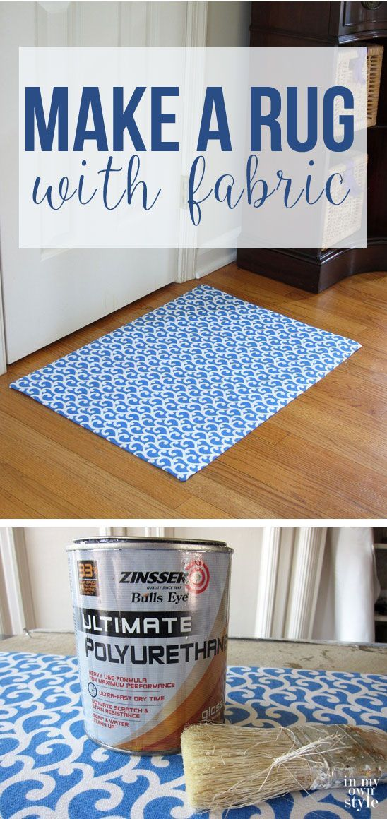Make a custom rug using a favorite fabric to coordinate with your decor. Easy to make DIY. Step by step tutorial | In My Own Style