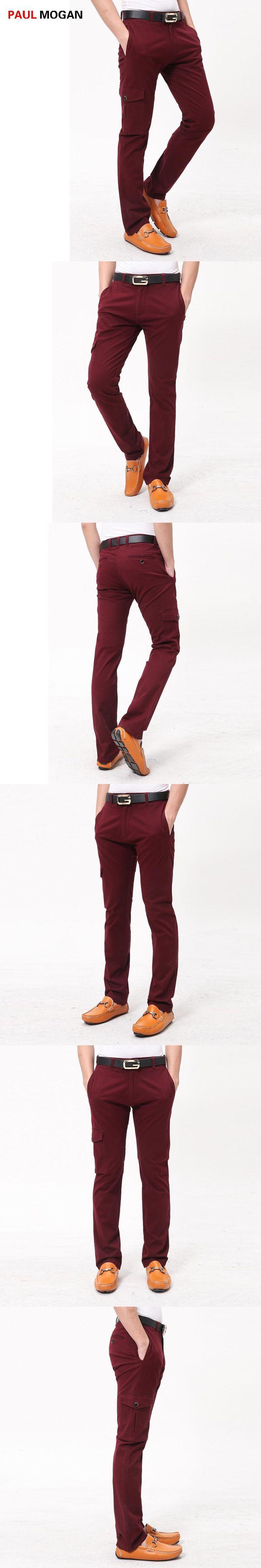 Paul Mogan 2017 men pants fashion Casual cotton wine red pants Designer brand high quality pocket design pants men casual pants