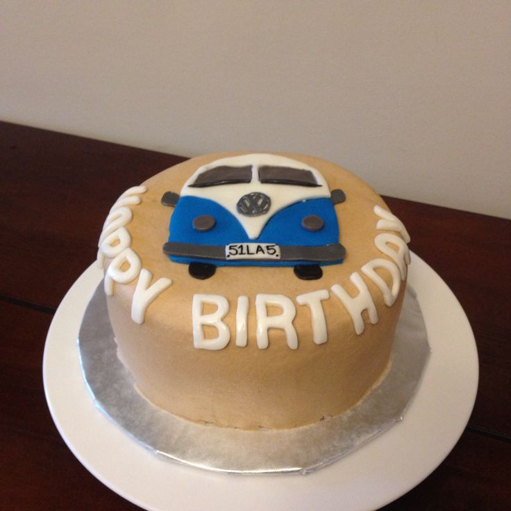 VW bus cake. Rootbeer float cake with rootbeer icing, smooth buttercream, and fondant accents.