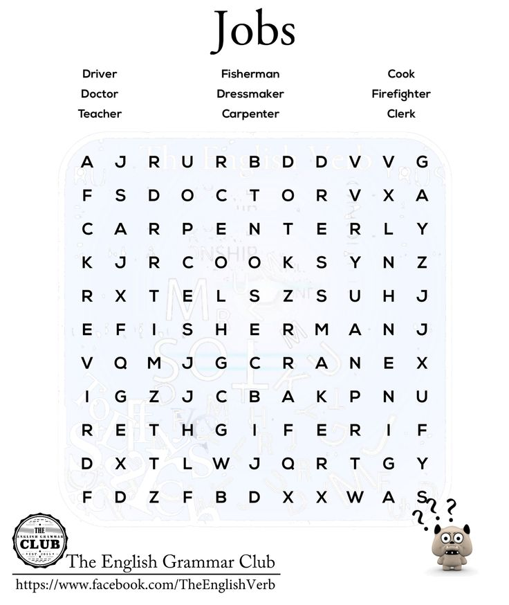 Can You Find The Jobs Esl Word Search The Objective Of