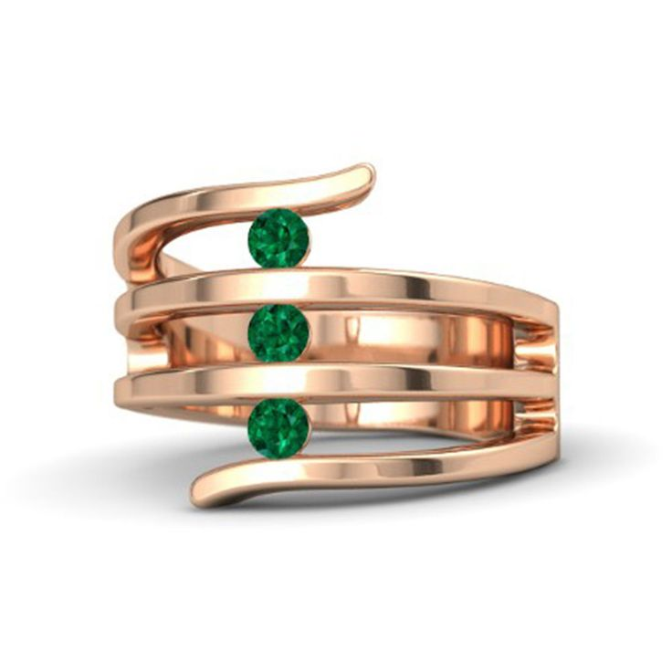 14K Rose Gold Over 925 Sterling Silver Round Green Emerald Three Stone Band Ring #eightyjewels #ThreeStone #AnySpecialDay