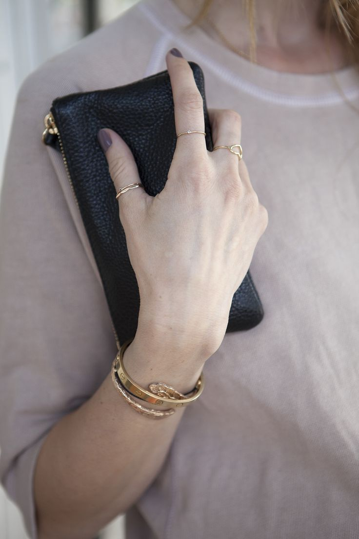 Neat gold plated bangles with itsy bitsy tiny rings. The maximum amount of bling bling I'd like to wear this spring.