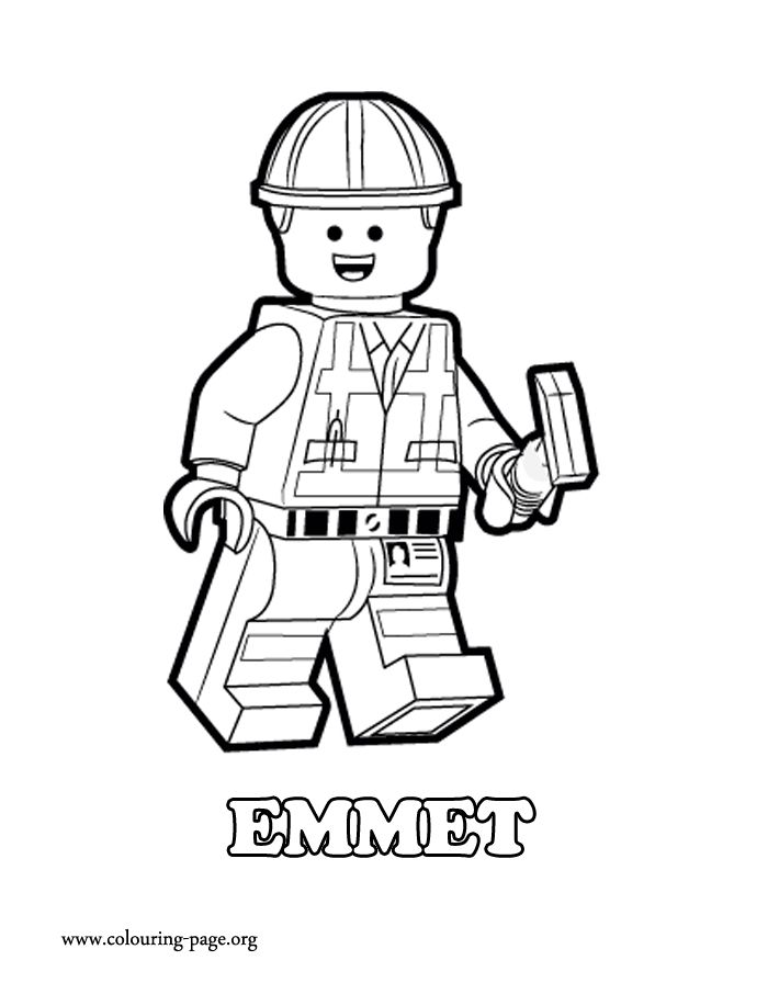 emmet is a construction worker lego minifigure he will fight to defend the lego universe lego coloring pageskids
