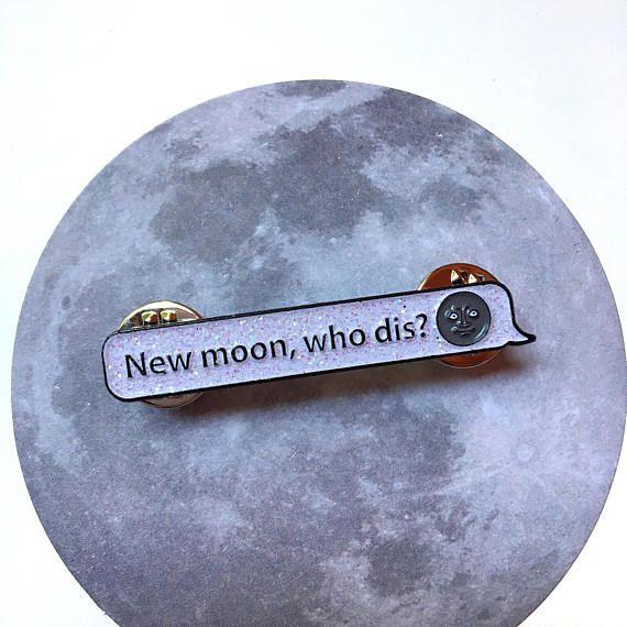 New Moon Who Dis Dark Moon Face Emoji Soft Enamel Pin