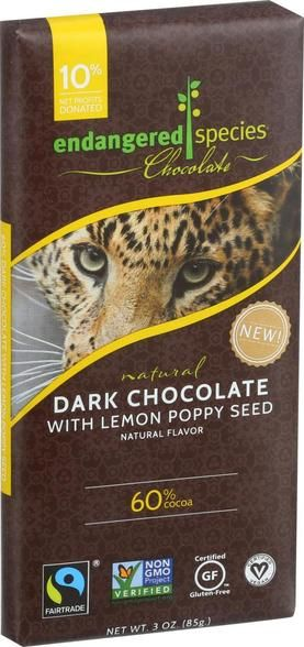Endangered Species Natural Chocolate Bars - Dark Chocolate - 60 Percent Cocoa - Lemon Poppy Seed - 3 Oz Bars - Case Of 12