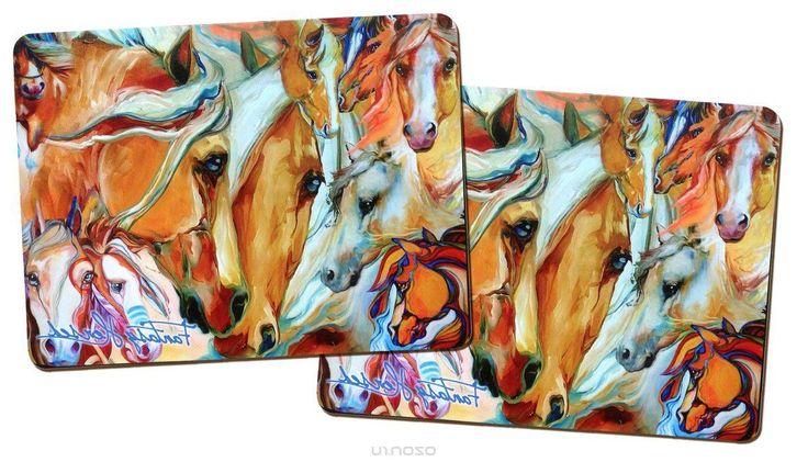 Подставка под горячее GiftnHome Фантазии о лошадях, пробковая, 21,5 см х 29 см, 2 шт