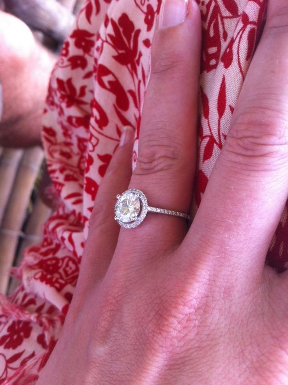 buying a moissanite co halo engagement ring what size