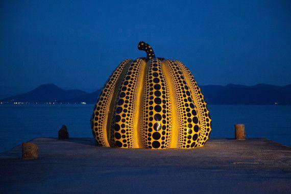 This pumpkin, created by artist Yayoi Kusama, sits on a pier overlooking Japan's Seto Inland Sea. (WikiCommons)
