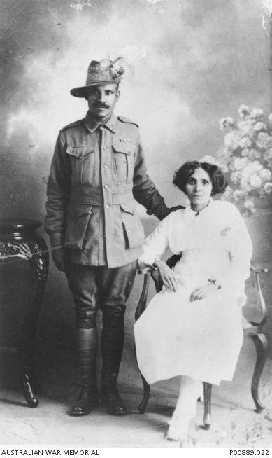 Studio portrait taken on their wedding day of 50246 Trooper William Allen and his bride, the former Miss Madeline Ferguson. Trooper Allen, originally from Darwin, served in the 11th Light Horse Regiment.