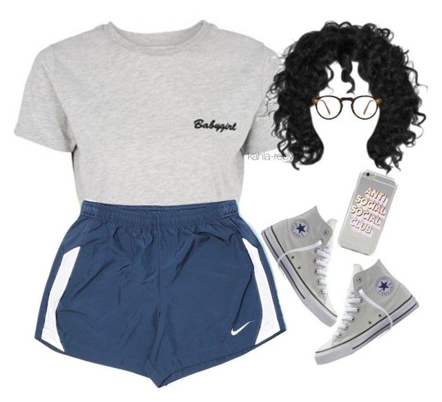 """""""Join the Club   IV   XXVI   XVII"""" by kahla-robyn ❤ liked on Polyvore featuring Topshop, NIKE, Oliver Peoples and Converse"""