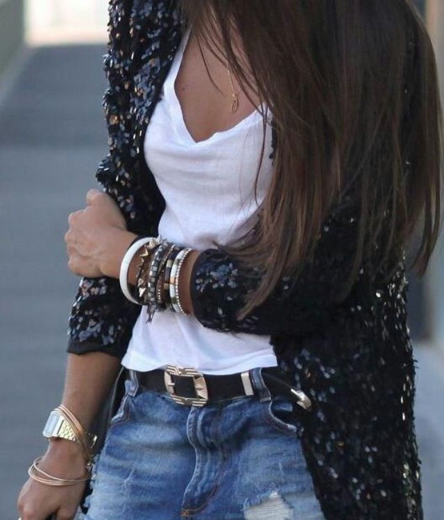 Cute sequined jacket and love the accessories