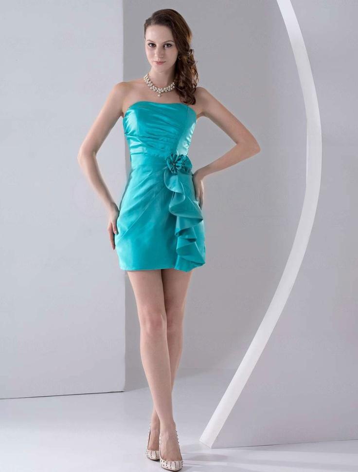 Army blue bridesmaid dress