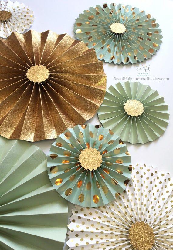 Mint Green Loves Gold Glitter Gold Rosette Centerpieces Mint
