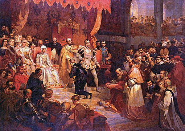Karel V draagt, steunend op Willem van Oranje, de regering over aan Philips II - Het Geheugen van Nederland - Online beeldbank van Archieven, Musea en Bibliotheken