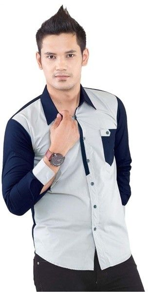 Cotton Shirt Mix Grey and Blue