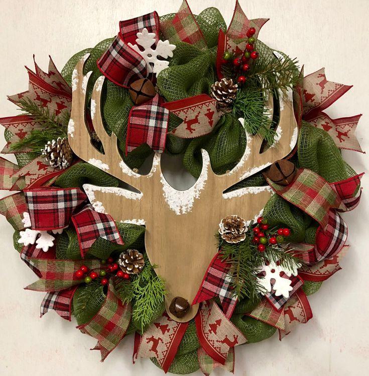 FREE SHIPPING – Rustic Deer Holiday Wreath, Christmas Deer Wreath, Best Christma…