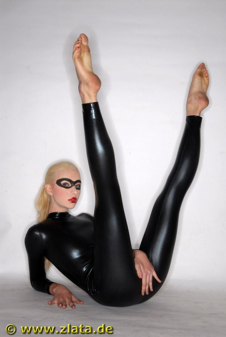 Woman in black catsuit  Tight Suits  Lycra spandex