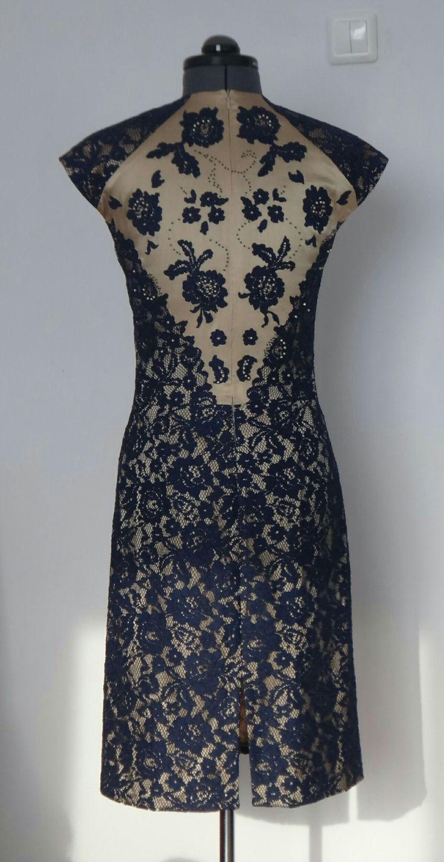 Платье, гипюр, натуральный шелк, отделка: бисер, жемчуг. Спина