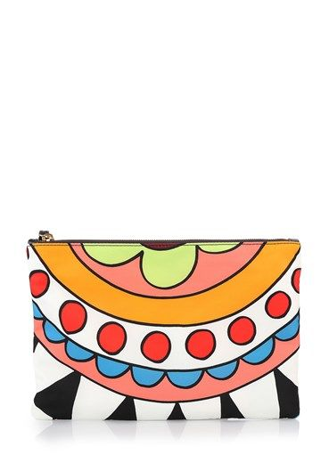 Printed nylon #clutch by Red #Valentino with #multicolor motif upper zip, #leather zip pulls and lined interior. http://bit.ly/1M9Pvin