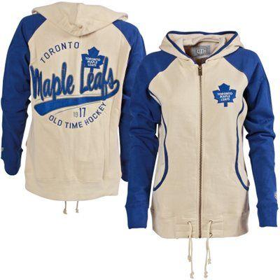 Women's Toronto Maple Leafs Old Time Hockey Cream/Royal Blue Mel Hoodie