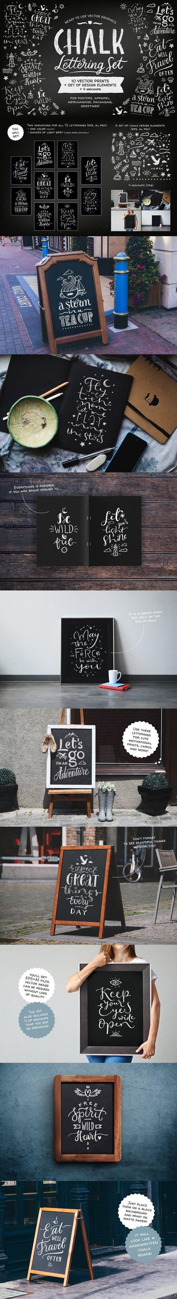 Chalk Lettering Set, Vector. Wedding Card Templates