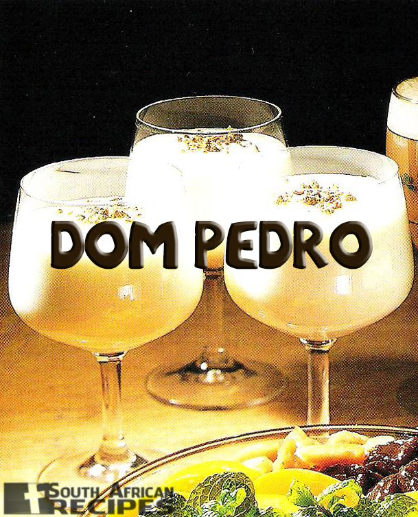 So apparently, no other country makes Dom Pedros, which is such a quick, easy, delicious South African dessert drink (I'm amazed). Make an ice-cream milk shake. Add a shot of Kaluha, Frangelico, Whisk(e)y, or Amarula.