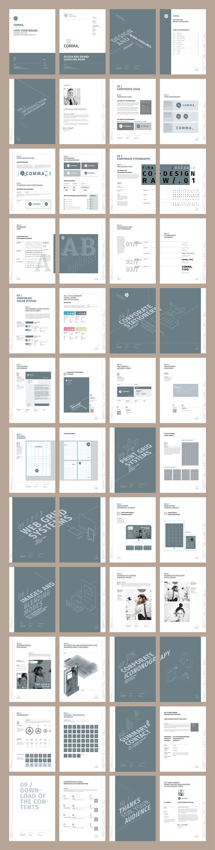 Brand Manual and Identity Template – Corporate Design Brochure – with 48 Pages and Real Text!!!Minimal and Professional Brand Manual and Identity Brochure template for creative businesses, created in Adobe InDesign in International DIN A4 and US Letter…