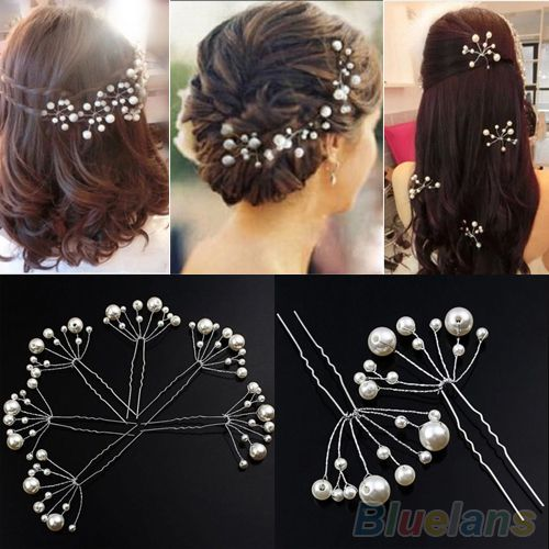 2pcs Fashion New Wedding Bridal Bridesmaid Pearls Hair Pins Clips Comb Headband