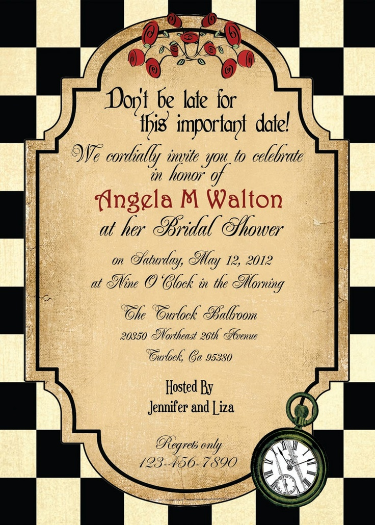 mad hatter teparty invitations pinterest%0A Alice in Wonderland Tea Party Invitation or by TheRedStarDesigns