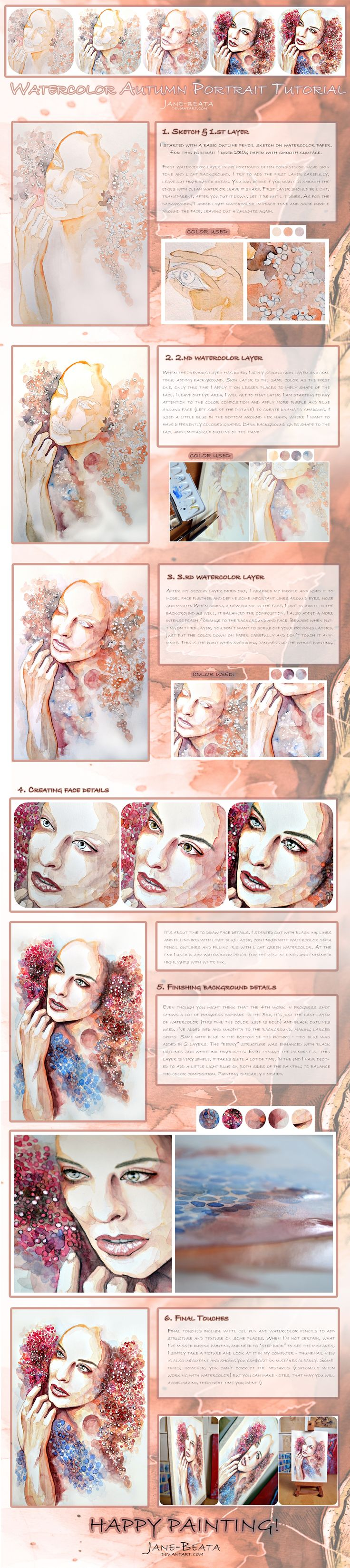 Watercolor Autumn Portrait Tutorial by jane-beata.deviantart.com on @deviantART