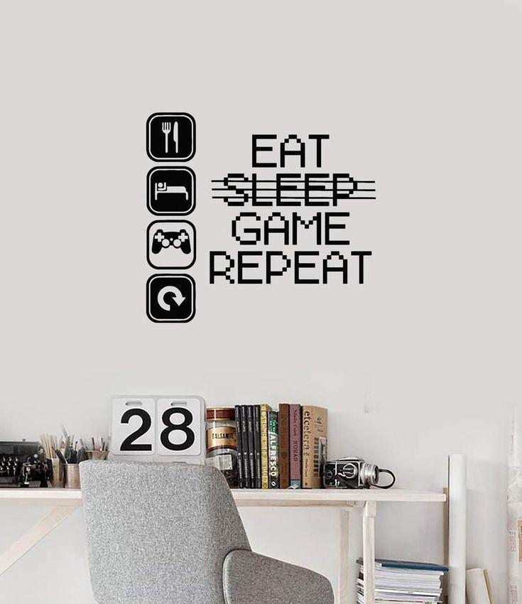 Vinyl Wall Decal Gamer Room Interior Gaming Quote Geek Quote Art Stickers Mural (ig5901) –  – #GamerRoom|DIY